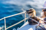 Sailing. Boat or yacht details. Sailing background