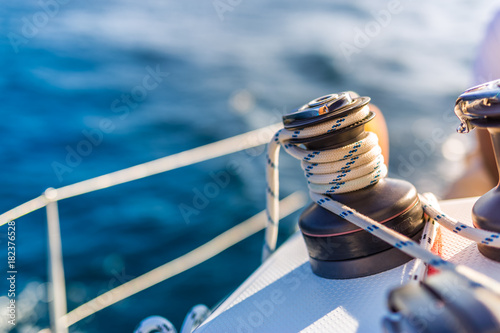 Sailing. Boat or yacht details. Sailing background Poster