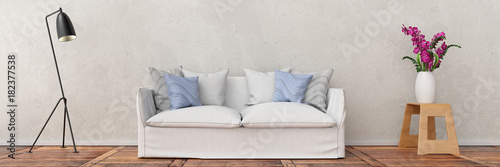 white sofa in front of plaster wall with lamp and flower as panorma 3d rendering