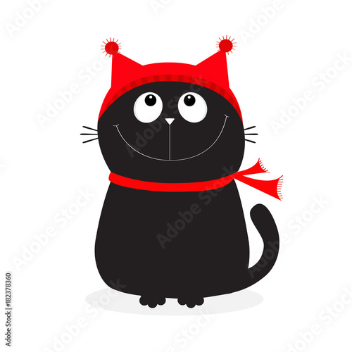 Fototapeta Black Cat kitten head face looking up. Kitty wearing red hat, scarf. Cute funny cartoon character. Merry Christmas. Hello winter. Flat design. White background.