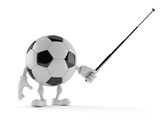 Soccer ball character aiming with pointer stick - 182378781