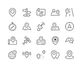 Minimal Set of Map and Location Line Icons - 182380997