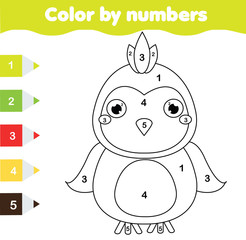Children educational game. Coloring page with parrot. Color by numbers, printable activity