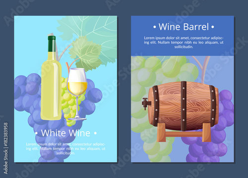 Aluminium Vintage Poster White Wine and Barrel Posters Vector Illustration