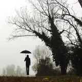 ragazzo salta con ombrello - 182384101