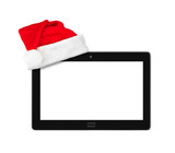 Touchpad pc and Santa Claus red christmas hat - 182384567