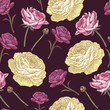 Vector floral seamless pattern with persian buttercup in vintage style