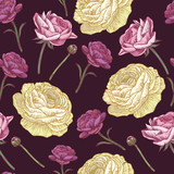 Vector floral seamless pattern with persian buttercup in vintage style - 182385164