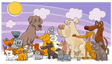 cartoon funny dog and cats group - 182390197