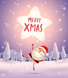 Merry Christmas! Santa Claus with star shaped balloon in the moonlight. Winter landscape. - 182391328