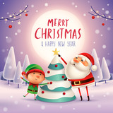 Merry Christmas! Santa Claus and Elf decorate the Christmas tree in the moonlight. Winter landscape. - 182391348