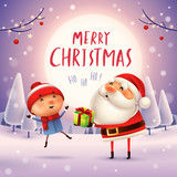 Merry Christmas! Santa Claus giving present to a kid in the moonlight. Winter landscape. - 182391382