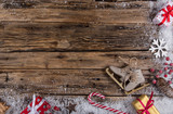 Christmas decoration on wooden background - 182391501