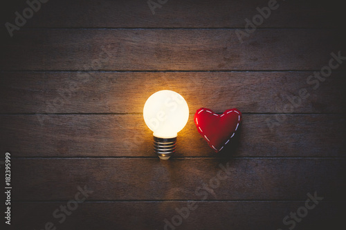 Heart shape toy and light on bulbs