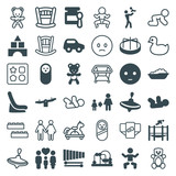 Set of 36 child filled and outline icons