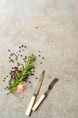 Food background with fresh herbs and spices
