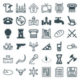 Set of 36 old filled and outline icons - 182397563