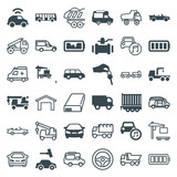 Set of 36 auto filled and outline icons