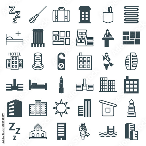 Set of 36 hotel filled and outline icons