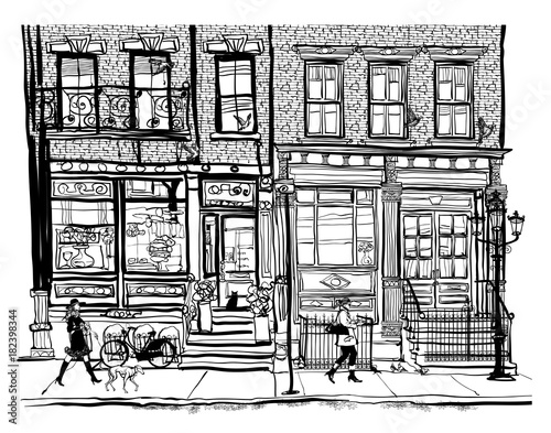 Poster Art Studio Houses in Greenwich Village New York City