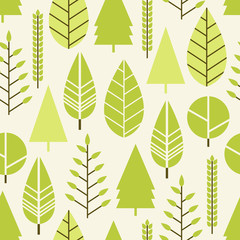 Seamless pattern with trees in a flat style. Season is spring, summer. Vector illustration.