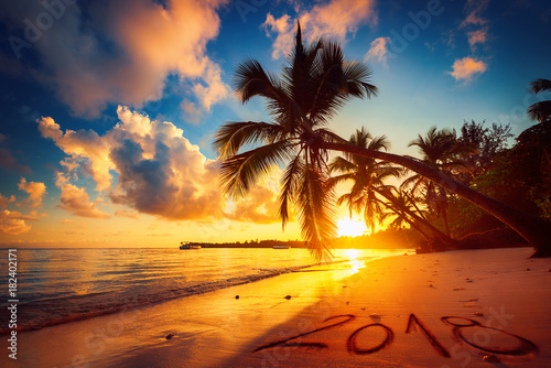 Foto auf Acrylglas See sonnenuntergang Happy New Year 2018 concept, lettering on the beach. Sea sunrise.