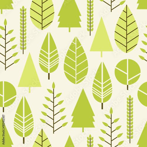 Fototapeta Seamless pattern with trees in a flat style. Season is spring, summer. Vector illustration.