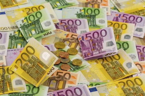 Leinwanddruck Bild many different euro bills