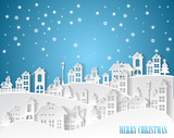 Christmas and New Years ,winter background and village Landscape - 182403995