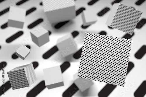 Abstract background with cubes in 3d space in black and white colors. Many randomly arranged cubes with dotted lines pattern. 3d illustration.
