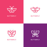 Four mono line butterfly logo.