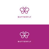 Butterfly mono line vector logo.
