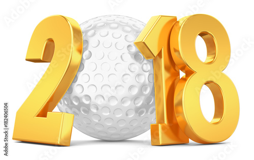 White ball for golf and gold numbers 2018 on a white background. 3d rendering.