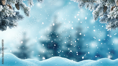 In de dag Pool Merry christmas and happy new year greeting background .Winter landscape with snow and christmas trees