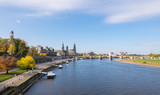 Scenic autumn view of Elbe river, Augustus Bridge and Old Town, Dresden, Saxony, Germany, Europe - 182413995