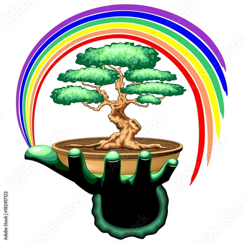 Foto op Canvas Draw Bonsai Tree and Rainbow on Green Hand