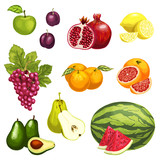 Vector flat icons of tropical exotic fruits - 182419138