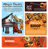 Vector sketch musical instruments shop posters - 182421134