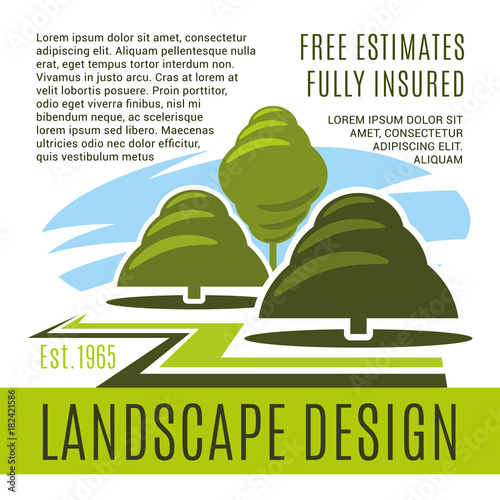 Tuinposter Wit Vector poster for landscape design company