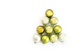 Green Christmas balls in the shape of a fir tree isolated with shadows on a white background, greeting card, flat top view from above, copy space - 182421992