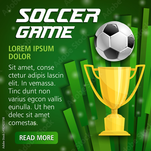 Vector football cup poster for soccer sport