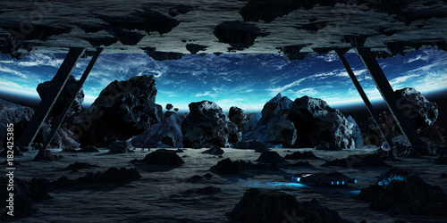 Astronauts exploring an asteroid spaceship 3D rendering elements of this image furnished by NASA