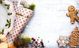 Christmas holidays ornament flat lay; Christmas card background - 182427304