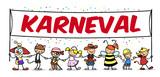 Gruppe Kinder im Kostüm mit Karneval Banner - 182427564