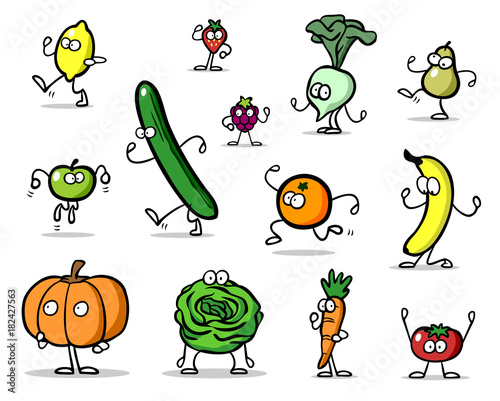 Lustiges Obst und Gemüse als Cartoon Set