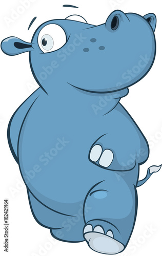 Deurstickers Babykamer Illustration of a Cute Little Hippo Cartoon Character.