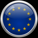 European Union flag glass button vector illustration