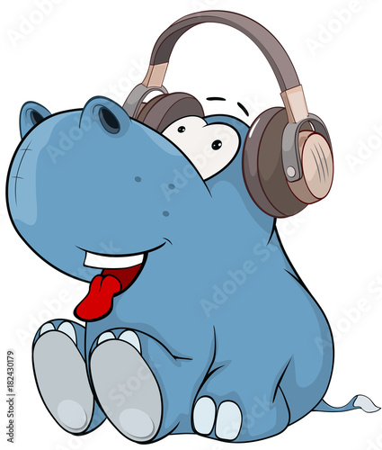 Staande foto Babykamer Illustration of a Cute Little Hippo Cartoon Character