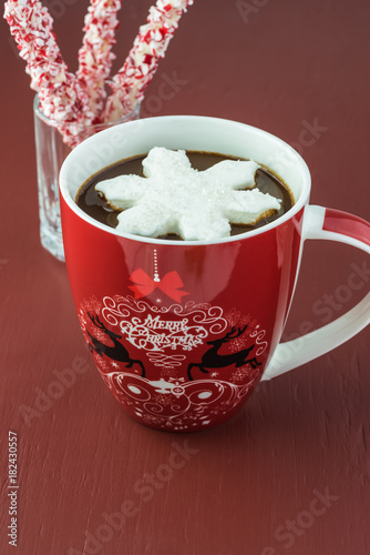 Homemade hot chocolate drink.