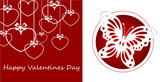 birthday greeting card valentine's day holiday love tenderness purity red butterfly circle hearts bows pearls inscription white background